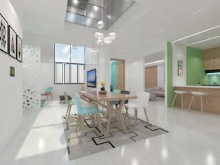 Dining Minimalist dining room by Ravi Prakash Architect Minimalist Engineered Wood Transparent