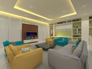 Ravi Prakash Architect Living room Engineered Wood Multicolored