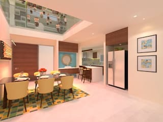Ravi Prakash Architect Asian style dining room Engineered Wood Multicolored