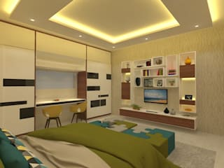 Ravi Prakash Architect Asian style bedroom Engineered Wood Multicolored