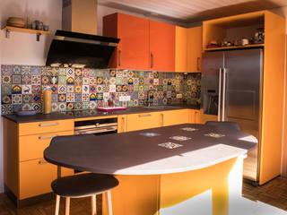 Bunte Küche mit Fliesenspiegel aus Mexiko im Patchworkstil:  Küche von Mexambiente e.K.