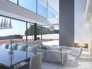Moradia Unifamiliar em Loulé: Salas de estar modernas por ANDRÉ ALVES