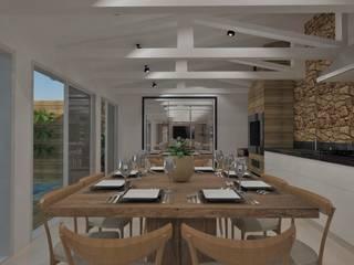 CHURRASQUEIRA GOURMET - CURITIBA/PR: Armários e bancadas de cozinha  por Petillo Arquitetura,Moderno