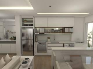 ESTAR E COZINHA INTEGRADA 35M² por Petillo Arquitetura Moderno