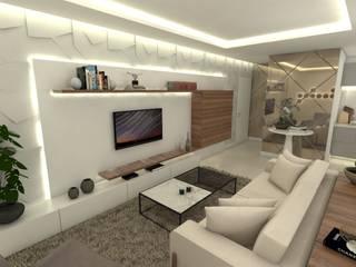 APARTAMENTO CABRAL - EDIFICIO SELECT - CURITIBA/PR Salas de estar modernas por Petillo Arquitetura Moderno