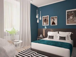 Dormitorios de estilo ecléctico de МайАрт: ремонт и дизайн помещений Ecléctico