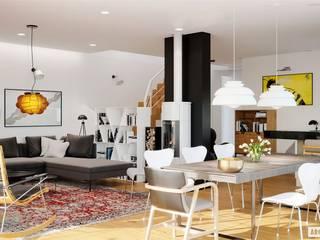 Projekt EX 20 G2 ENERGO PLUS - nowoczesny dom na wąską działkę Nowoczesna jadalnia od Pracownia Projektowa ARCHIPELAG Nowoczesny