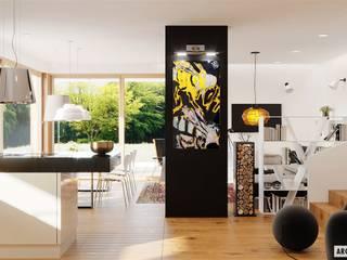 Projekt EX 20 G2 ENERGO PLUS - nowoczesny dom na wąską działkę Nowoczesny salon od Pracownia Projektowa ARCHIPELAG Nowoczesny