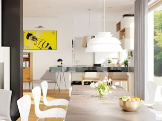 Projekt EX 20 G2 ENERGO PLUS - nowoczesny dom na wąską działkę Nowoczesna kuchnia od Pracownia Projektowa ARCHIPELAG Nowoczesny