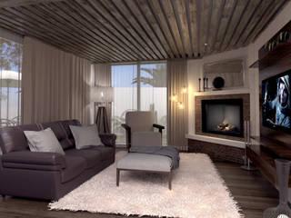 V Arquitectura Modern Living Room Wood effect