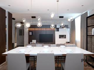 Современный дом в серо-черной гамме. Столовая комната в стиле модерн от дизайн-студия PandaDom Модерн