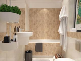 biel i drewno: styl , w kategorii Łazienka zaprojektowany przez UrbanForm