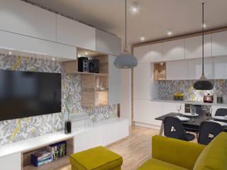 niewielki salon: styl , w kategorii Salon zaprojektowany przez UrbanForm