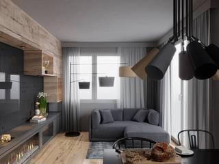 mieszkanie w nowej zabudowie Minimalistyczny salon od UrbanForm Minimalistyczny