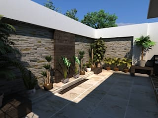 TERRAZA RESIDENCIAL: Jardines zen de estilo  por OLLIN ARQUITECTURA