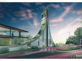Caseta de acceso de noche: Centros Comerciales de estilo  por TDT Arquitectos