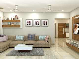 PROJECT @ GACHIBOWLI Asian style living room by shree lalitha consultants Asian Plywood