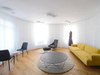 Garmendia Cordero arquitectos ミニマルデザインの リビング