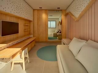 Apartamento Shao: Quartos das meninas  por Lauria Arquitetura