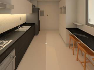 Apartamento Shao: Armários e bancadas de cozinha  por Lauria Arquitetura