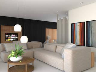 Apartamento Shao: Salas de estar  por Lauria Arquitetura