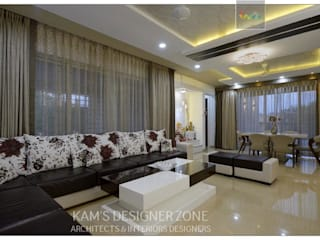 Flat interior design of Mr. Sanjay Agarwal Modern living room by KAM'S DESIGNER ZONE Modern