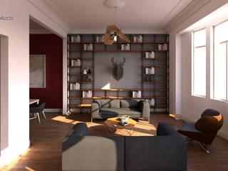Гостиная в стиле модерн от Two+architects Модерн