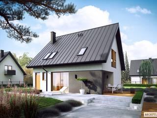 Projekt domu Mini 5 - mały, kompaktowy, na wąską działkę : styl , w kategorii Dom jednorodzinny zaprojektowany przez Pracownia Projektowa ARCHIPELAG,Nowoczesny