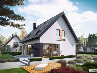 Projekt domu Mini 5 - mały, kompaktowy, na wąską działkę od Pracownia Projektowa ARCHIPELAG Nowoczesny