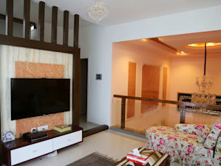 Mr. Fazal 's Home Interior Design:  Living room by Walls Asia Architects and Engineers