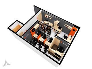 PRUEBA DE DISEÑO: Oficinas y Tiendas de estilo  por Jorge Osorio Arquitecto, Industrial