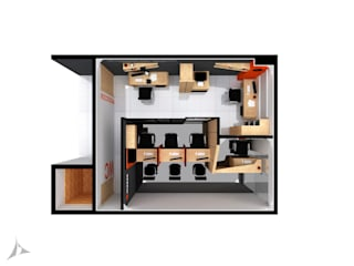 Planta 3D General: Oficinas y Tiendas de estilo  por Jorge Osorio Arquitecto