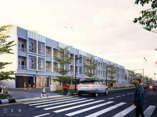 aksen architectural visualization Espacios comerciales de estilo moderno Ladrillos Blanco