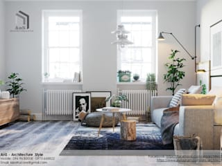 Dự án Căn hộ phong cách Scandinavian Phòng khách phong cách Bắc Âu bởi AnS - Architecture Style Bắc Âu