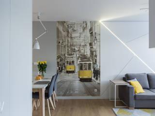 Trójkąty i tramwaje Nowoczesny salon od AAW studio Nowoczesny