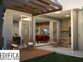 Residencia Florais 115 M²: Jardins de fachadas de casas  por Edifica Arquitetura e Design