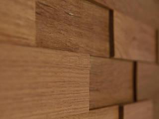 Wallure Striped - Teak - Wide - Sleek - Natural Wooden Wall Panel:   by Wallure