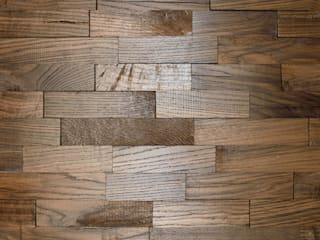 Wallure Striped - Bog Oak - Wide - Sleek - Varnished Wooden Wall Panel:   by Wallure
