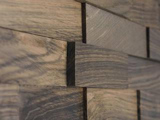 Wallure Striped - Bog Oak - Wide - Sleek - Natural Wooden Wall Panel:   by Wallure