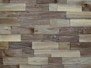 Wallure Striped - Walnut - Wide - Split - Varnished Wooden Wall Panel:   by Wallure