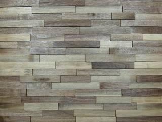 Wallure Striped - Walnut - Wide - Split - Natural Wooden Wall Panel:   by Wallure