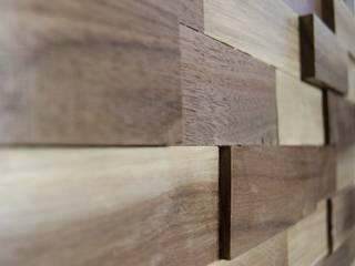 Wallure Striped - Walnut - Wide - Sleek - Varnished Wooden Wall Panel:   by Wallure