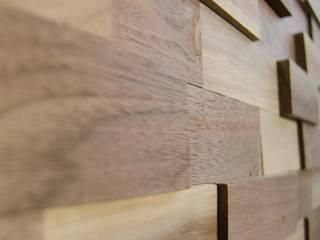 Wallure Striped - Walnut - Wide - Sleek - Natural Wooden Wall Panel:   by Wallure