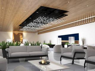 INTERIOR LOBBY Balcones y terrazas modernos de V Arquitectura Moderno