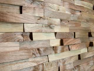 Wallure Striped - Walnut - Narrow - Split - Varnished Wooden Wall Panel:   by Wallure