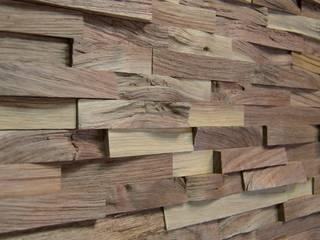Wallure Striped - Walnut - Narrow - Split - Natural Wooden Wall Panel:   by Wallure