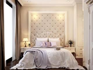 Biệt thự ven Hồ Tây:  Phòng ngủ by công ty cổ phần xây dựng mỹ kiến