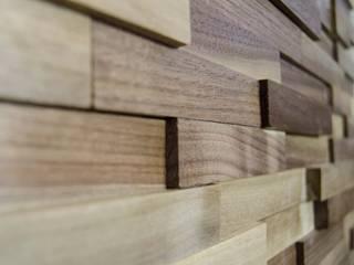 Wallure Striped - Walnut - Narrow - Sleek - Varnished Wooden Wall Panel:   by Wallure