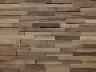Wallure Striped - Walnut - Narrow - Sleek - Natural Wooden Wall Panel:   by Wallure