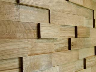Wallure Striped - Oak - Wide - Sleek - Varnished Wooden Wall Panel:   by Wallure